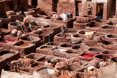 Dyeing in tanneries - Fez, Morocco Royalty Free Stock Image