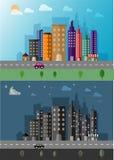 Dygnet runt bakgrund för vektor för cityscapelandskaplägenhet Royaltyfri Bild