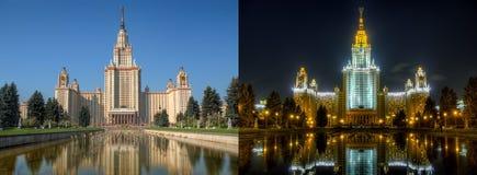 Dygnet runt serie: Lomonosov Moskvadelstatsuniversitet Royaltyfri Foto
