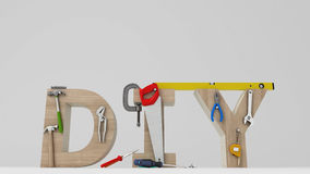 DYI concept, inscription, letters and tools on white background Stock Photo