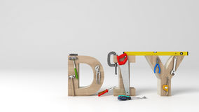 DYI concept, inscription, letters and tools on white background Royalty Free Stock Photography