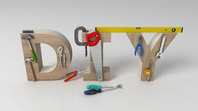 DYI concept, inscription, letters and tools on white background Royalty Free Stock Images
