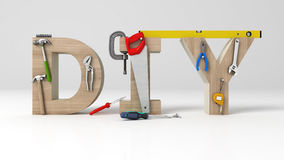 DYI concept, inscription, letters and tools on white background royalty free illustration