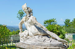 Dying achilles in achilleion corfu. Back sculpture of the dying achilles in achilleion corfu Stock Photos