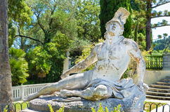 Dying achilles in achilleion corfu. Front sculpture of the dying achilles in achilleion corfu Stock Photo