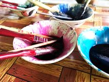 Dying for cloth color handicraft stock images