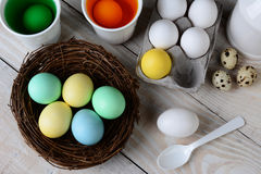 Dying Easter Eggs Royalty Free Stock Photography