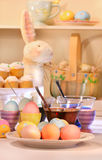 Dying eggs for Easter royalty free stock photos