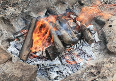 The dying embers. balefire Royalty Free Stock Photo