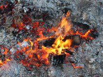 Dying embers of a bonfire, flames charcoal ash. Royalty Free Stock Photography
