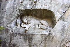 Dying lion monument in Lucerne Stock Photos