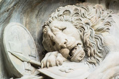 Dying lion monument in Lucerne Stock Photography