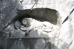 Dying lion monument in Lucerne, Switzerland. Monument of dying lion in Lucern, Switzerland Royalty Free Stock Image