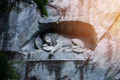 Dying lion monument of Lucerne, Switzerland Stock Images