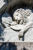 Dying Lion monument on the stone in Luzern Lucerne, Switzerlan Royalty Free Stock Photo