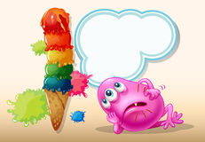 A dying pink beanie monster near the icecream Stock Images