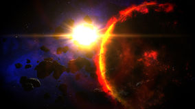 Dying Planet illuminated by Sun Stock Images