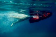 Dyk för man för undervattens- sparkcykelseabob oidentifierad royaltyfria bilder