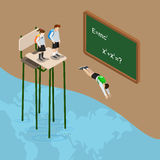 Dyk in i världen av den isometriska vektorn för utbildningshavlägenhet 3d Arkivbild