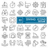 Dyka linjen symbolsuppsättningen som snorklar symboler samling, skissar vektorn, logoillustrationer, linjärt undervattens- tecken Arkivbild