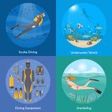 Dyka och snorkla begrepp för design 2x2 vektor illustrationer