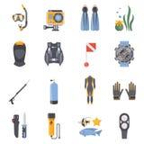 Dyka och snorkla plana dekorativa symboler stock illustrationer