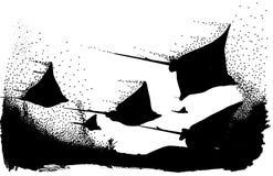 dyka upp mantasskuggor Vektor Illustrationer