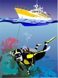 dyka yacht stock illustrationer