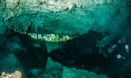 Dykapparatdykning i Cenoten Dos Ojos, Mexico royaltyfri bild