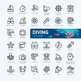 Dykapparatdykning och snorkla - minsta tunn linje rengöringsduksymbolsuppsättning Översiktssymbolssamling vektor illustrationer