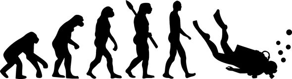 Dykare Evolution stock illustrationer