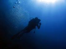 dykare för 105 bubblor Arkivbilder