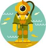 Dykare i gammal dykningdräkt Arkivfoto