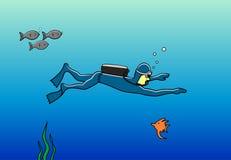 Dykare i havet Fotografering för Bildbyråer