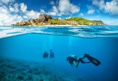 Dykare nedanför yttersidan i Seychellerna fotografering för bildbyråer