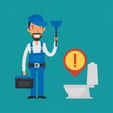 Dykare och hjälpmedel för Repairman hållande stock illustrationer