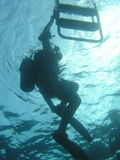 dykare som går ut från vatten Royaltyfria Bilder