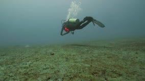 Dykare som svävar på havsbotten, undervattens- sikt Djupt hav som dyker begrepp lager videofilmer