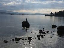 Dykaren, skyddsmur mot havet, Vancouver Arkivfoto