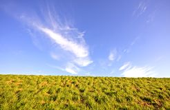 Dyke and blue sky in the Netherlands Stock Photo