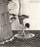 Dykning för ung kvinna in i vattenillustration Royaltyfria Bilder