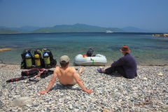 dykning japanese sea Arkivfoton