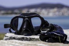 Dykningexponeringsglas och en snorkle Arkivfoton