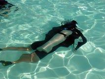 dykningleasonsscuba Arkivfoton