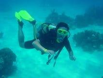 dykningscuba Arkivbilder