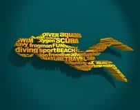 Dykningsportbegrepp stock illustrationer