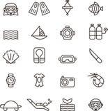 Dykningsymbolsuppsättning Arkivbilder