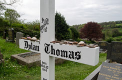 Dylan Thomas headstone, Laugharne Royalty Free Stock Photo