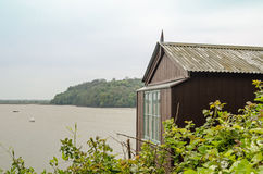 Dylan Thomas Writing Shed. The shed used by the great Welsh poet Dylan Thomas to write in while looking over the fabulous view of the Taf peninsula at Laugharne Royalty Free Stock Images