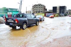 Dyluwialni deszcze: utożsamiać ryzyko strefy w Abidjan Fotografia Royalty Free